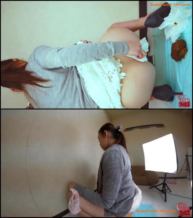 Filth scat (Woman defecates thick turd 3 angle viewing. - FullHD 1080p) [Defecation / 243 MB]